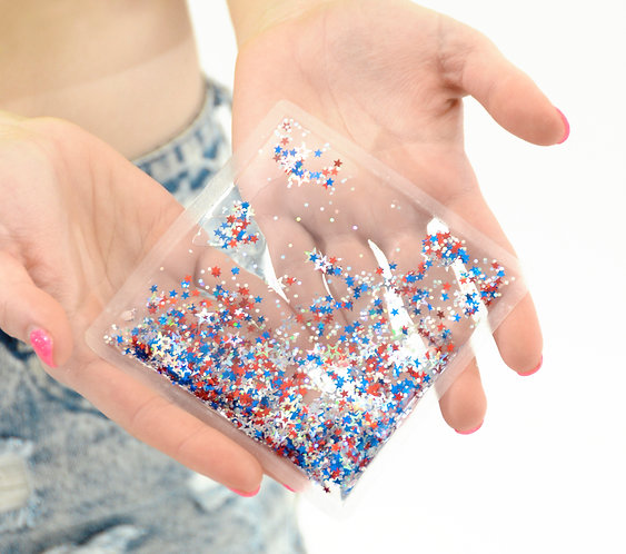 Liquid Glitter Sparkle Square - Firework - Stress Relief Object
