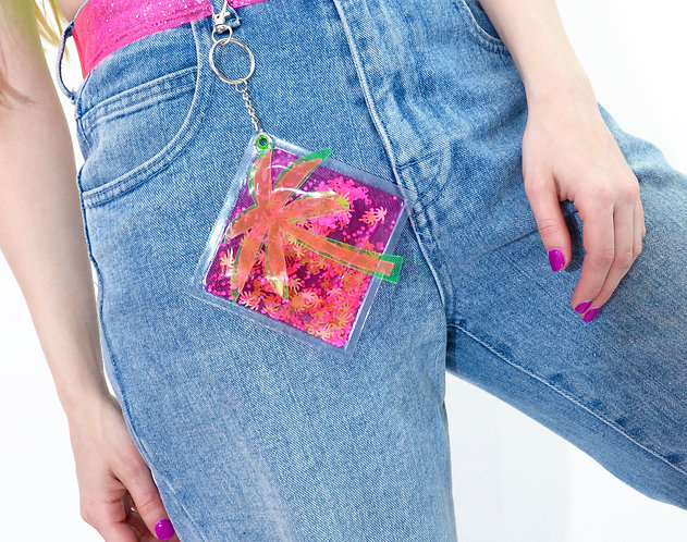 Liquid Glitter Keychain - Summertime