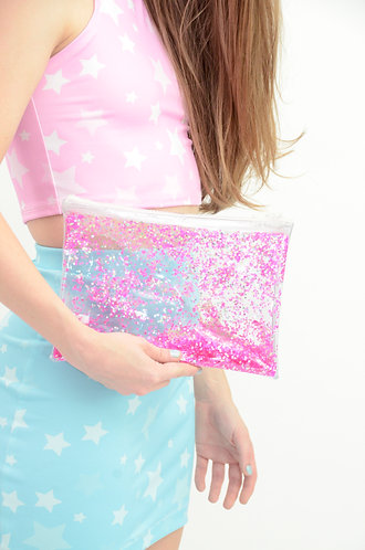 Liquid Glitter Zip Clutch - Atomic Pink