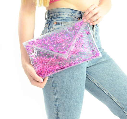 Liquid Glitter Fold Over Clutch - Sparkling Magenta