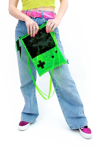 Game On Liquid Glitter Purse- Green