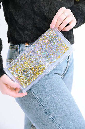 Liquid Glitter Wallet - Star Gold/ Atomic Silver