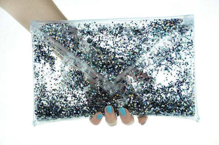 Liquid Glitter Clutch - Midnight Glam