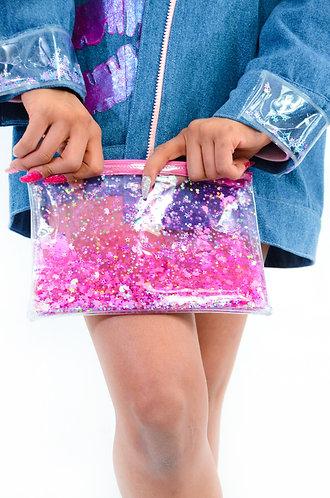 Liquid Glitter Zip Clutch - Sparkling Unicorn