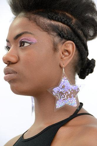 Liquid Glitter Earrings - Stars - Atomic Purple
