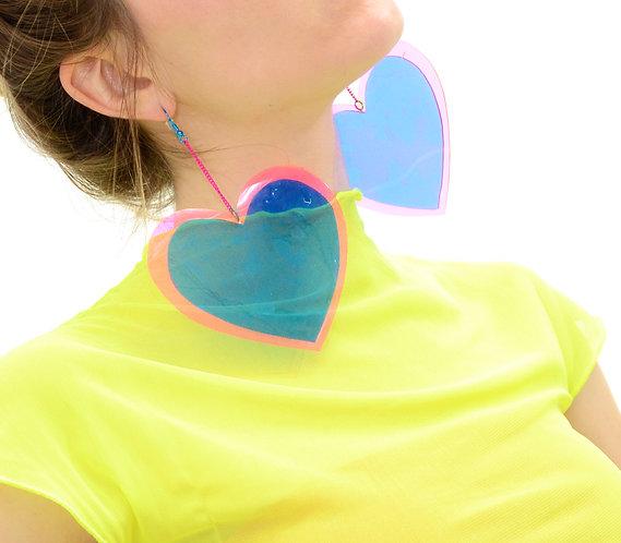 Neon Love Heart Earrings - Blue & Pink