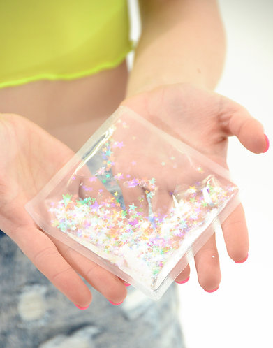 Liquid Glitter Sparkle Square - Transparent Rainbow - Stress Relief Object