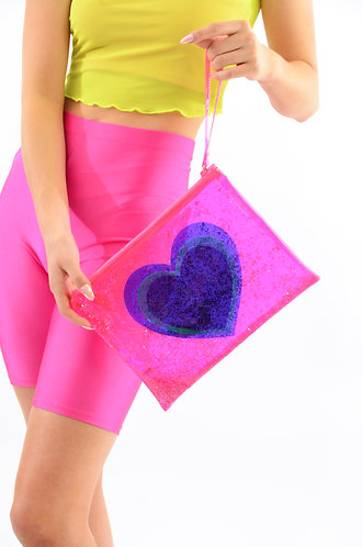 Neon Love Liquid Glitter Clutch