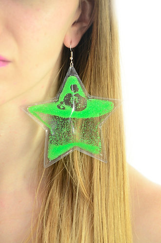 Liquid Glitter Earrings - Stars - Neon Green