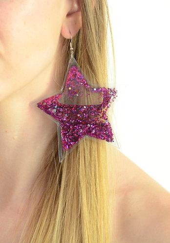 Liquid Glitter Earrings - Stars - Magenta Sparkle