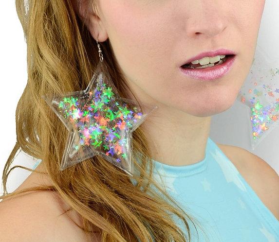 Liquid Glitter Star Earrings - Transparent Rainbow