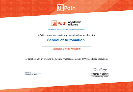 UiPath Academic Alliance Partnership cer