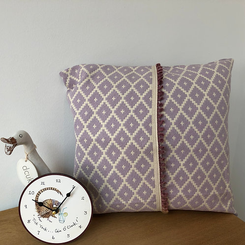 Mauve and White Wool/Cotton Cushion Cover