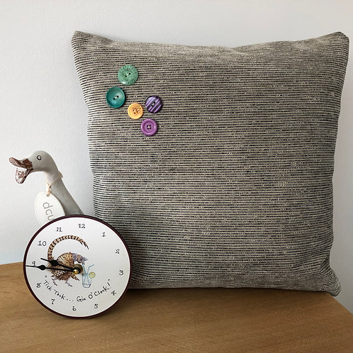 Grey Corduroy Cushion Cover with button detail