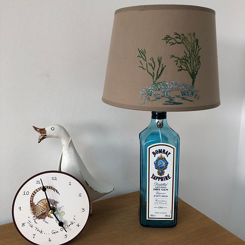Bottle Lamp with Hand Stencilled Shade