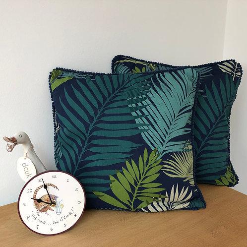 Palm Leaf Cotton Print Cushion Cover