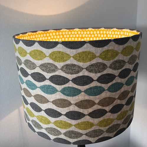 Modern Print Shade in Ochre, Teal and Grey