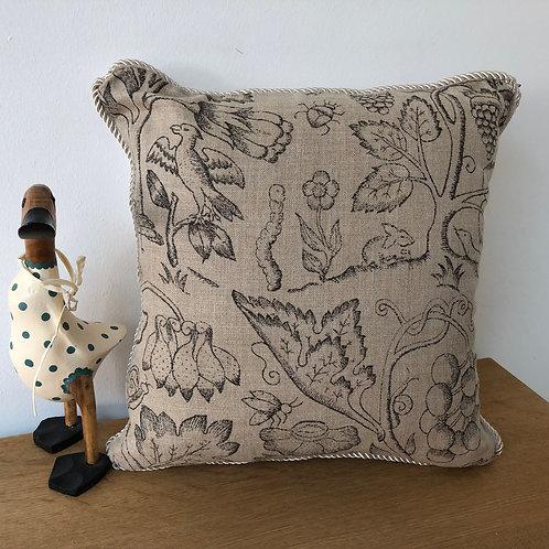 Small Linen Wildlife Print Cushion