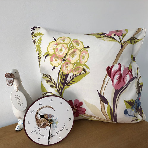 Fern and Floral Cushion with Button Closing