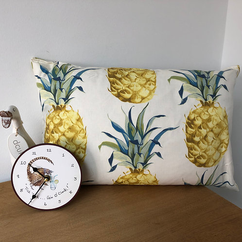 Longer Pineapple and Palm Button Close Cushion