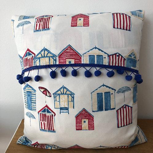 Beach Hut Design Cushion Cover