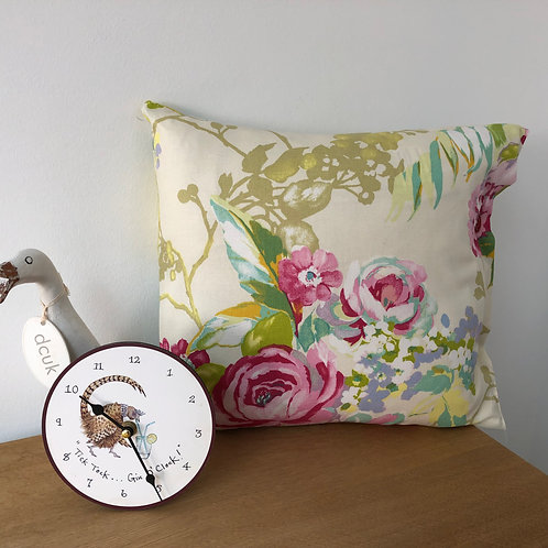 Floral Cushion with Button Closing