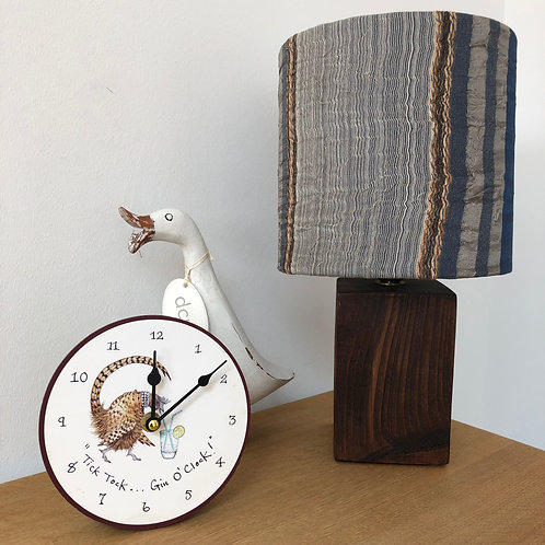 Dark Oak Block Lamp and Silk Overlay Shade