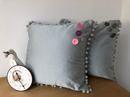 Pair of Grey Cushions with Button Detail