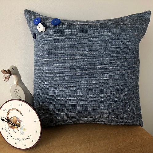 Blue Buttoned Detailed Cushion Cover