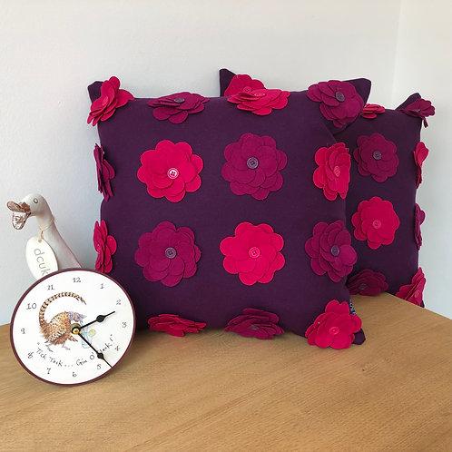 Felt Flower and Button Cushions