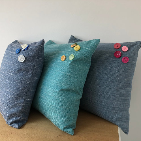 3 Blue Linen and Cotton cushion covers with Button detail