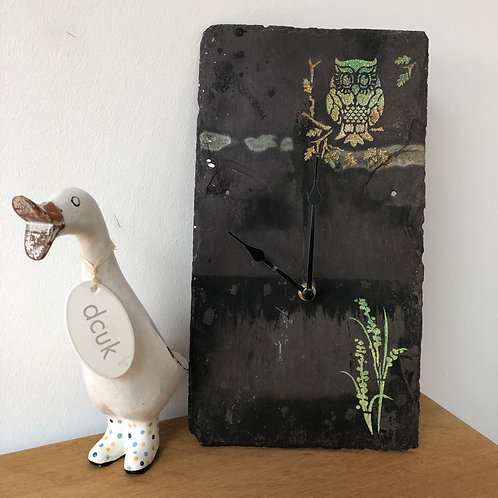 Slate Clock with Owl detail