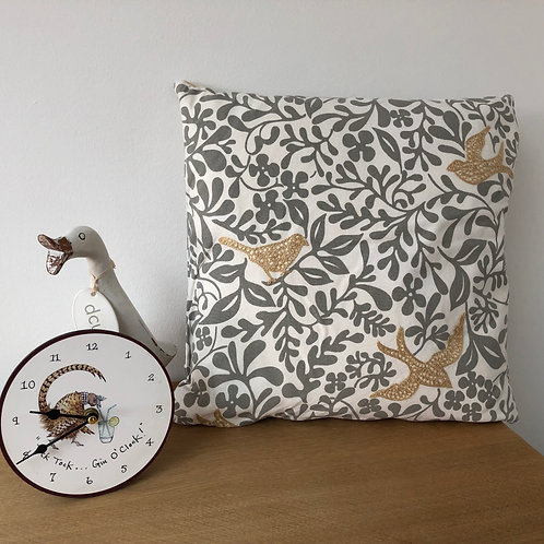 Appliqued Bird and Grey Floral Cushion Cover