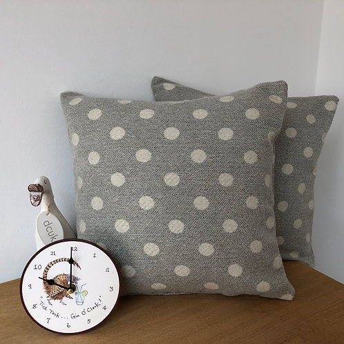Wool Grey and white Spot Cushion Covers