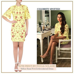 _krystledsouza in yellow rose print dres