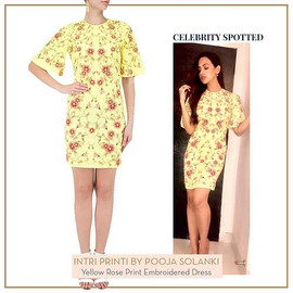 _sanakhaan21 in yellow rose print dress