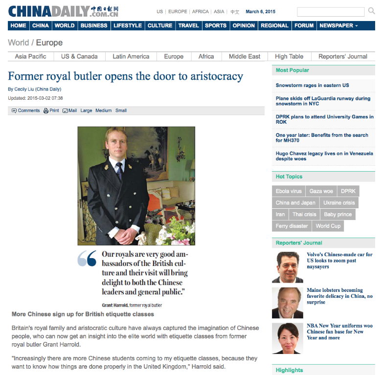Grant's Harrold is in China Daily