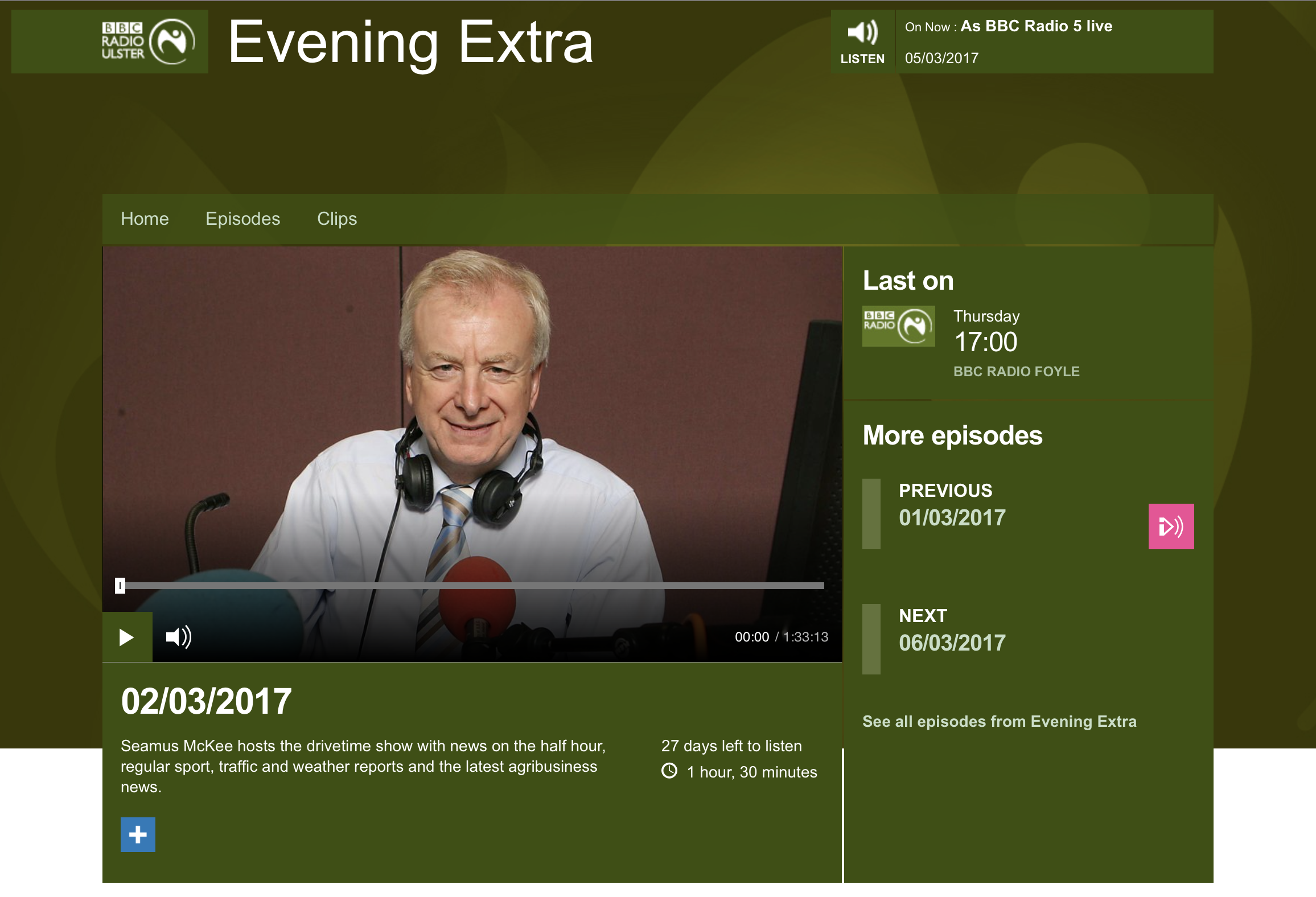 BBC Radio Ulster, Theatre Etiquette