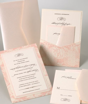 Blush back pocket invitations