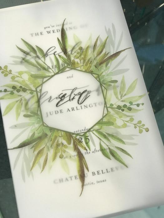 Vellum wrapped invitations