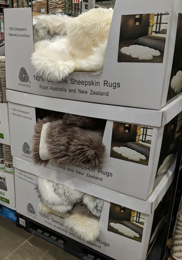sheepskin rugs at store