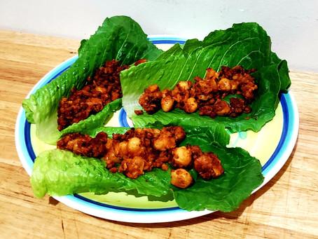 Vegan Buffalo Chickpea and Chorizo Lettuce Wraps
