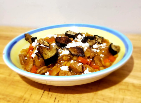 Lentil Stew With Roasted Eggplant