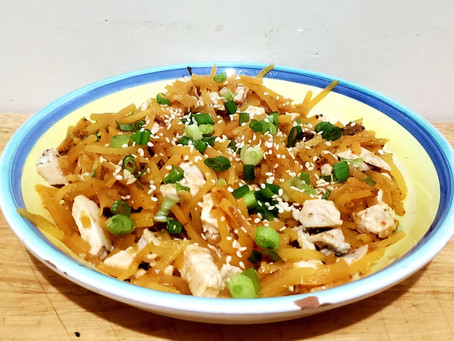 Butternut Squash Noodles With Chicken and Peanut Dressing