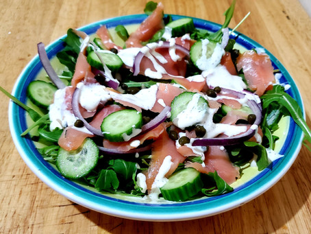 Smoked Salmon Salad With Cream Cheese Dressing