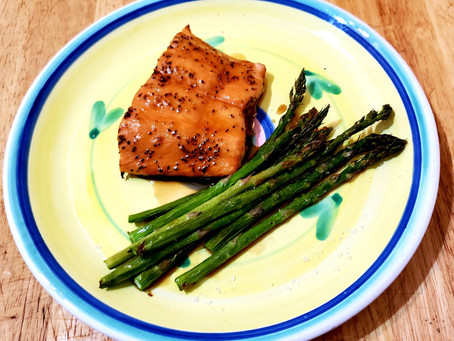 Air Fryer Maple Soy Salmon and Asparagus