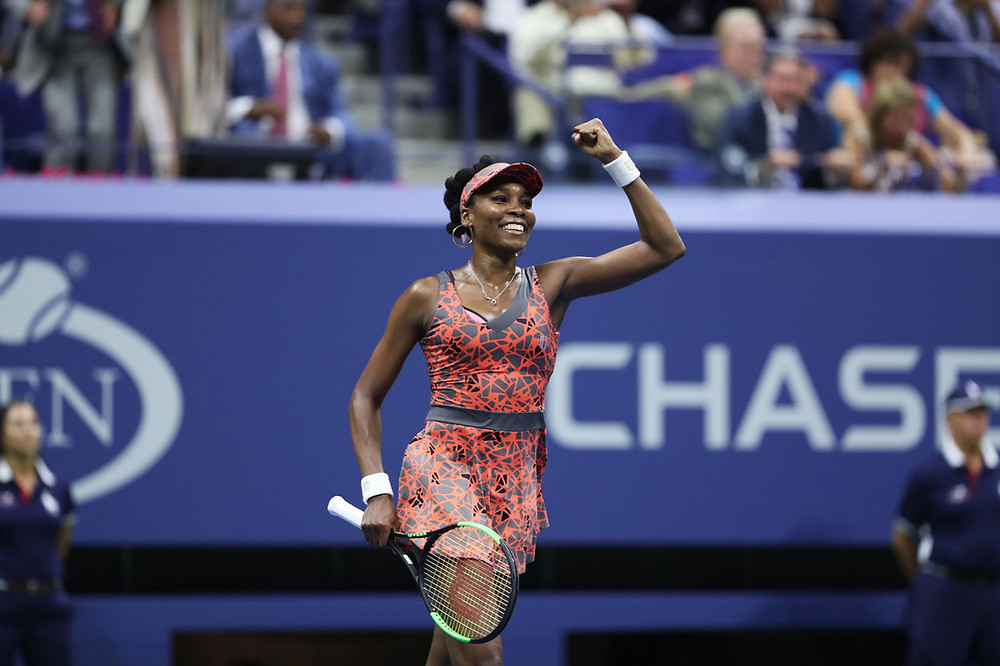 Venus Williams comemora vitória no US Open