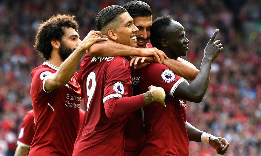 Salah, Firmino, Can e Mané comemoram gol do Liverpool