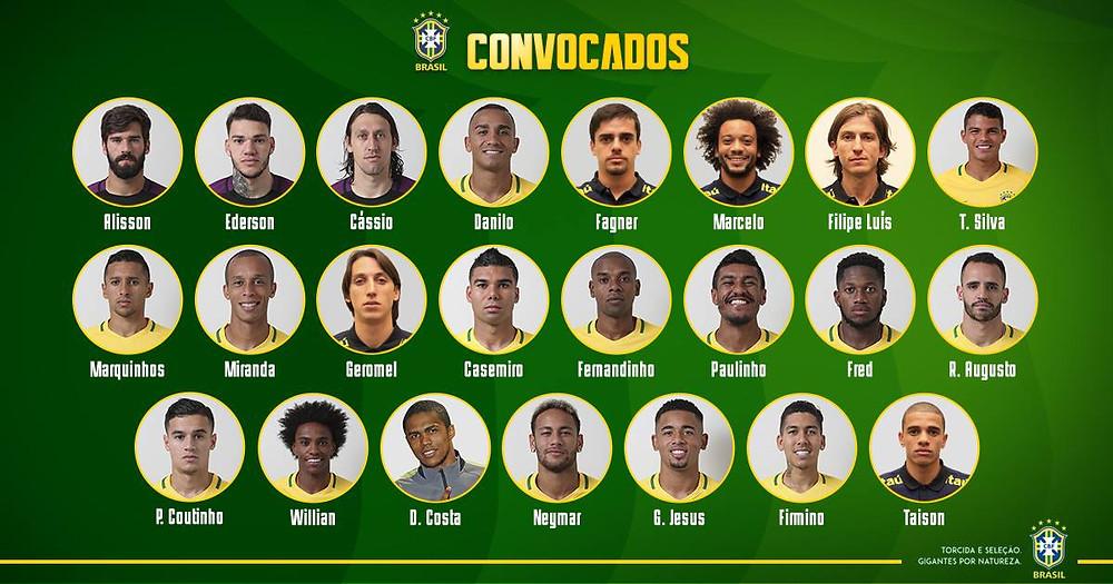 Os 23 convocados para a Copa do Mundo 2018