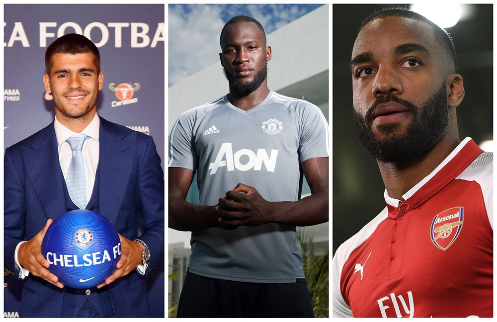 Morata no Chelsea, Lukaku no United e Lacazette no Arsenal